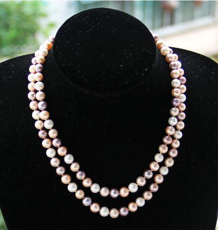 Charming Mischfarbe 8-9mm Doppelstrang Südsee natürliche Perlenkette 18 Zoll 19 Zoll S925 Silber