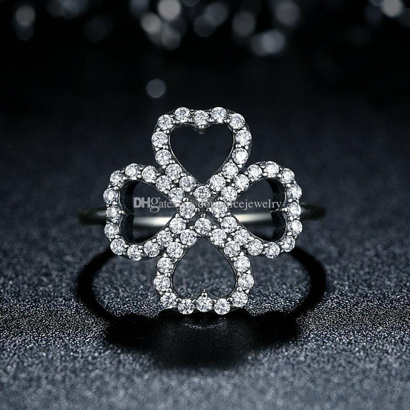 Petali d'amore Autentici anelli in argento sterling 925 in quattro petali a forma di cuore con anelli CZ eleganti e trasparenti per donne R079