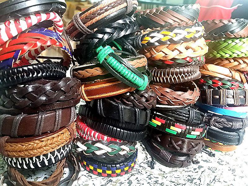 новые 30 штук смешать стили мужские женские ручной работы мода кожа манжеты этнические племенные браслеты Оптовая навалом много