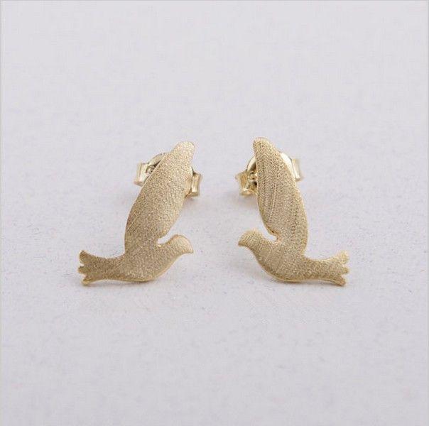 10 PCS / lot de mixte couleur paix oiseau mouche marteau double boucles d'oreilles femmes femmes bijoux gros livraison gratuite