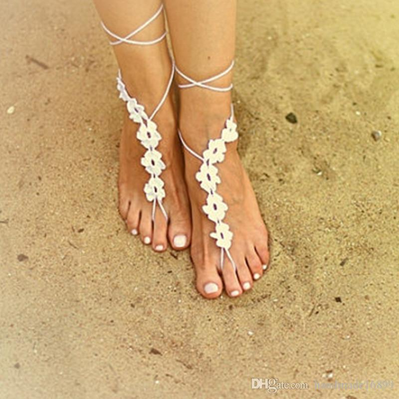 Gehäkelte barfuß Sandalen / Nude Schuhe / Fuß Schmuck / Brautjungfer Zubehör / Yoga Schuhe / Beach Accessoire / Strand Hochzeit Fußkettchen Zubehör