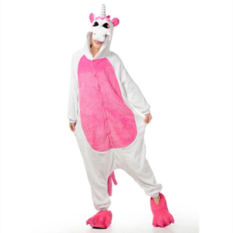 Yetişkin pembe Unicorn Onesies Cosplay pijama Pijama Tulum cadılar bayramı noel partisi cosplay kostümleri Karikatür pembe Unicorn At tulum