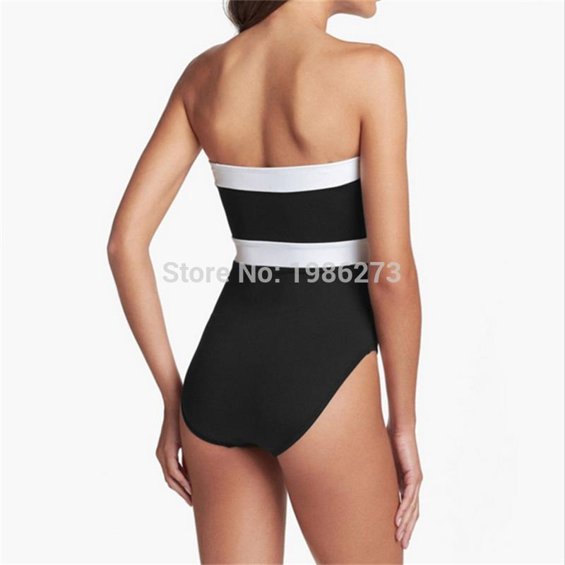 2017 Push up One piece Swimsuit Removable shoulder strap sexy women V wire Swimwear black white Patchwork bathing suits D013