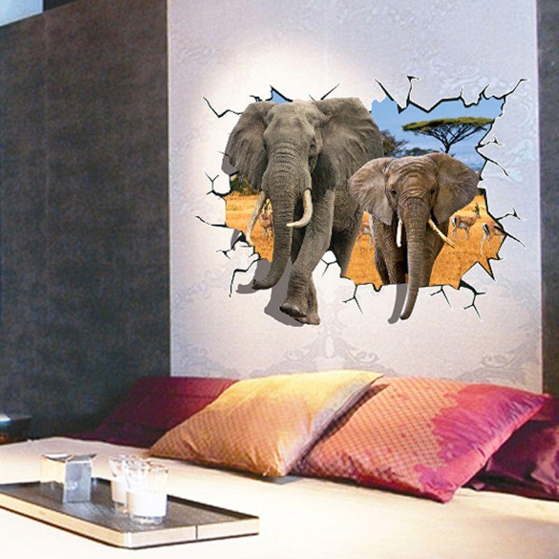 New Arrival 3D Elephants Wall Stickers Home Decor Sticker For Kids Rooms Animal Poster Free Shipping Room Decor order<$18no track