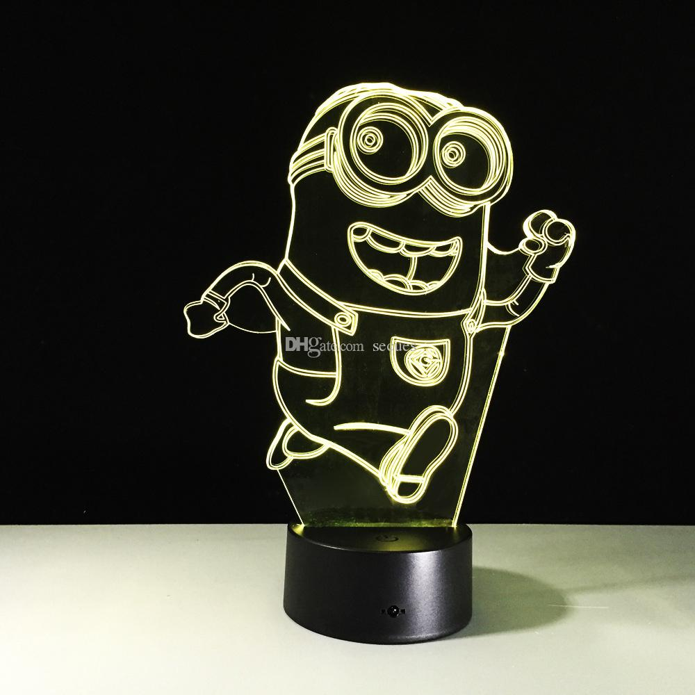 2017 3D Running Minions Illusion Night Lamp 3D Optical Lamp Battery DC 5V Wholesale Free Shipping