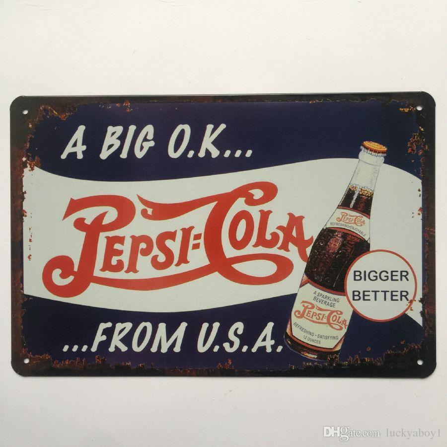 A big ok Pepsi Cola Retro Vintage Metal Tin sign poster for Man Cave Garage shabby chic wall sticker Cafe Bar home decor