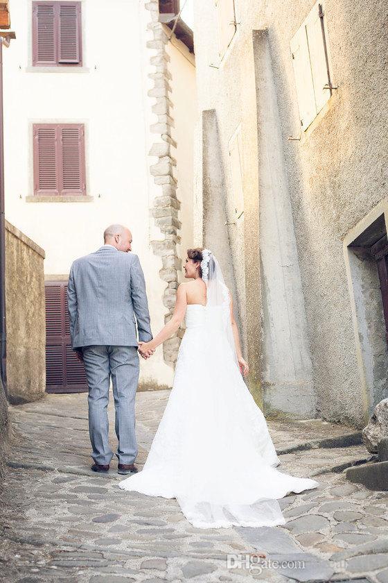 Hot Quality Cheap RomanticChapel Length One Layer White Ivory Lace Edge veil Bridal Head Pieces For Wedding Dresses