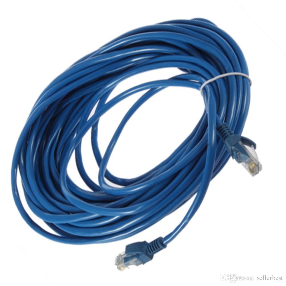 50FT 15 M RJ45 CAT5 CAT5E Ethernet Ağ Lan Yönlendirici Yama Kablo Kordon Mavi 15 M Yepyeni