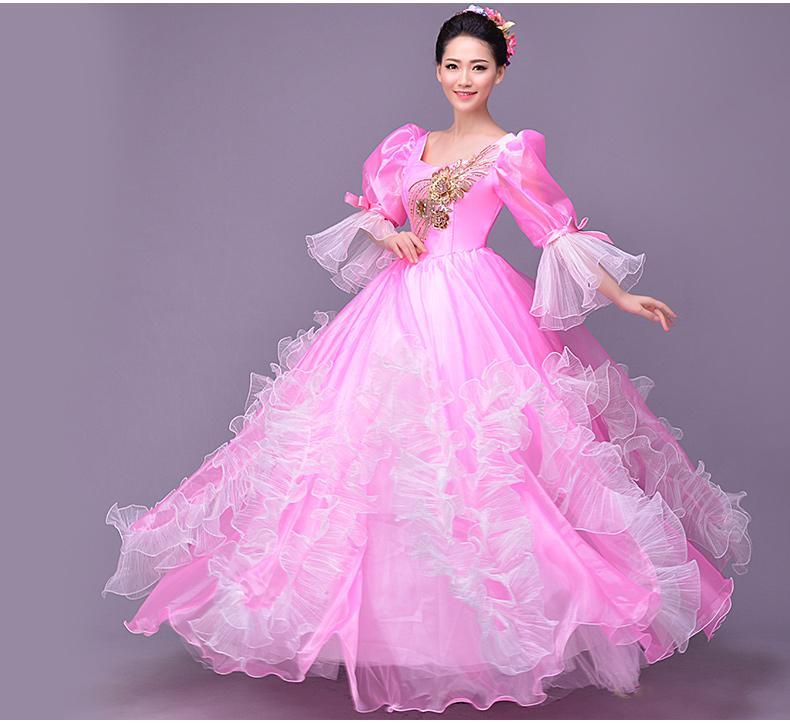 Rosa gekräuselte Bühne Kleid Tanz zerzaust mittelalterlichen Kleid Ballkleid Siss Prinzessin Kleid Königin Cos Victorian Belle Ball