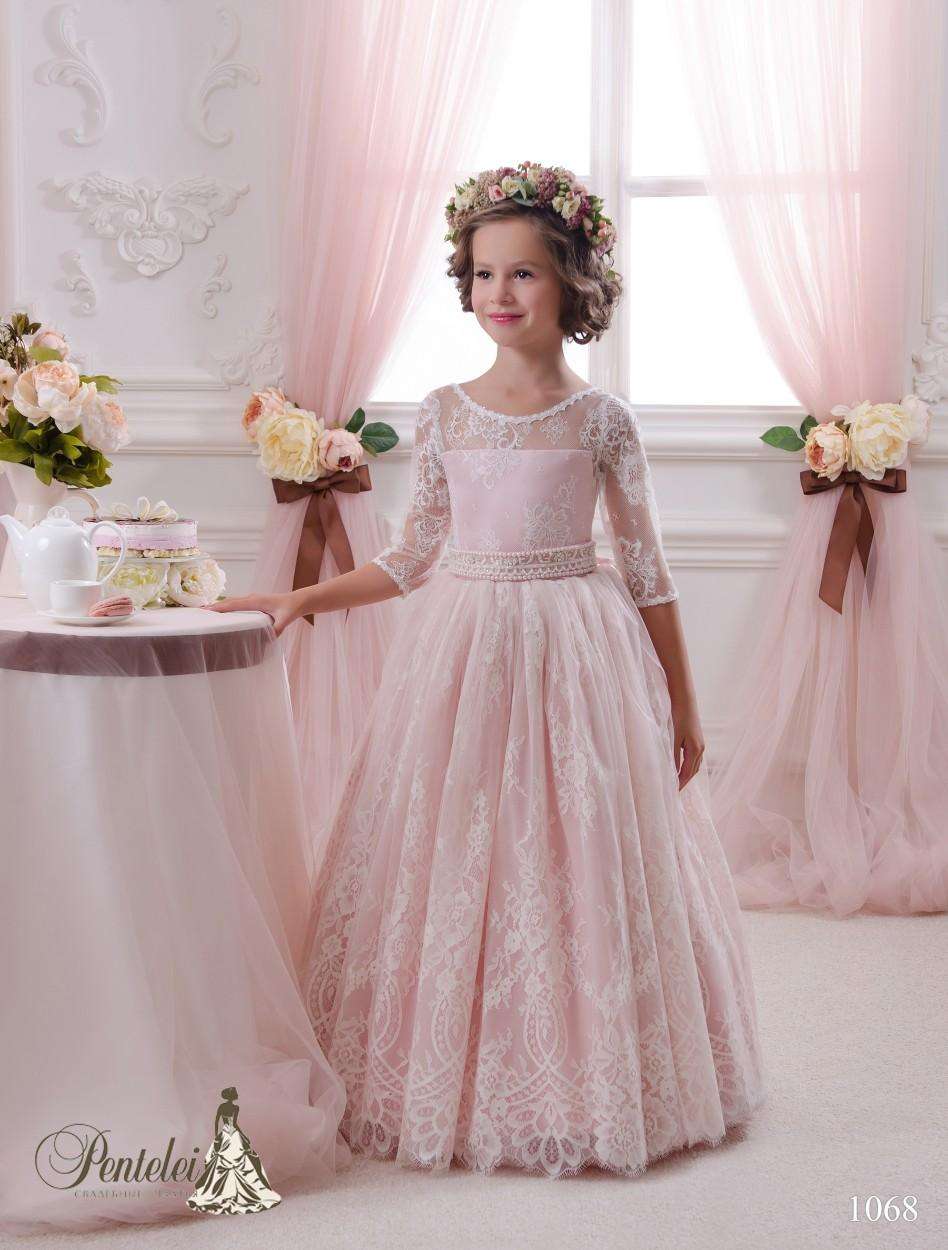 2016 Blush Pequena Vestidos de Noiva com 3/4 Mangas Compridas e Frisado Sash Lace Flor Meninas Vestidos Custom Made Comunhão Vestido para As Crianças