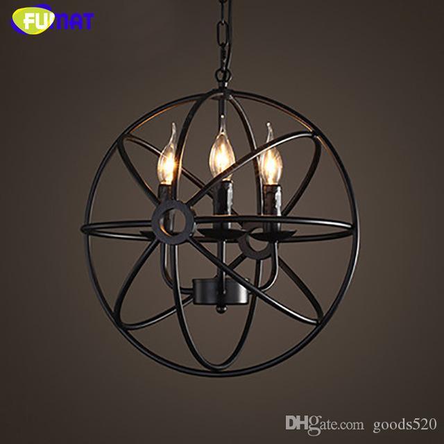 Fumat Globe Wisiorek Lights Loft Przemysłowy Żelazny Zawieszenie Oprawa Loft Lampa Kraj Vintage Wisiorek Lampa E14 Di40cm