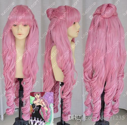 Envío gratis nueva imagen de moda de alta calidad peluca una pieza perona halloween ondulado pelo cosplay fiesta peluca rizada peluca + seis colinajeros
