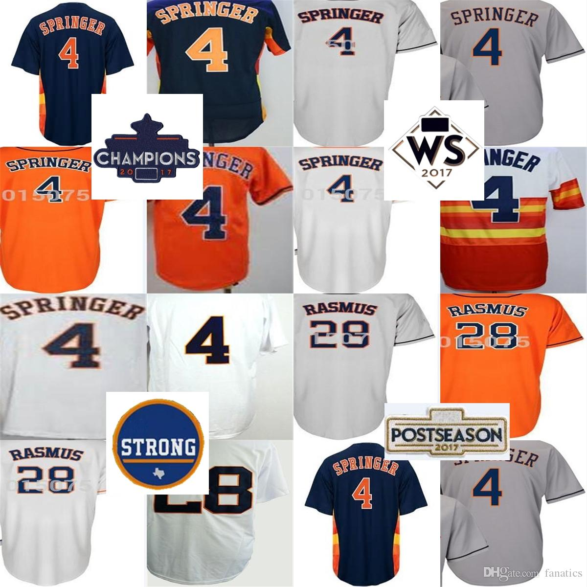 Cheap 2017 Houston Strong WS Champions Patch Mens Womens Kids 4 George Springer 28 Colby Rasmus White Grey Orange Blue Baseball Jerseys