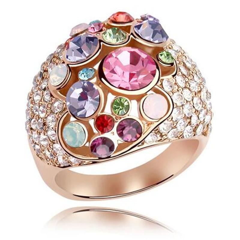 Vrouwelijke Oostenrijkse kristallen ring 18K rose vergulde verguld gemaakt met Swarovski elementen Womens bruiloft en verlovingsring 4689