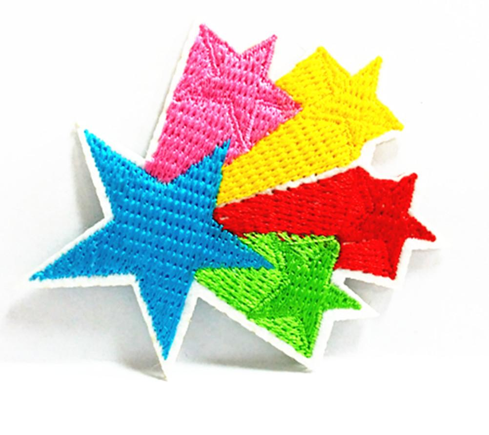 Wholesales~10 Pieces Rainbow Star Kids Patch (7 cm x 5.5 cm) Embroidered Applique Iron On Patch (AL)