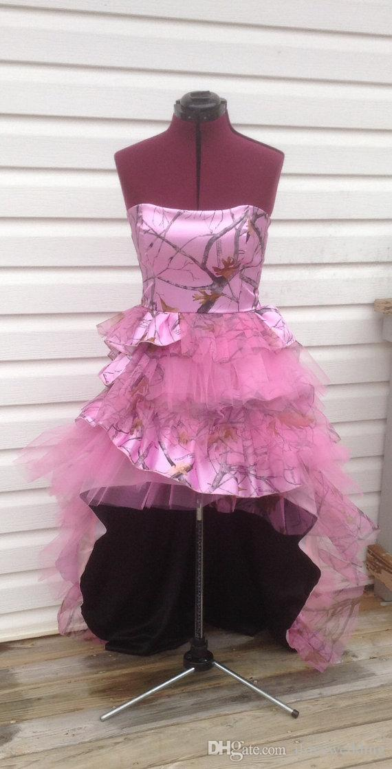 2016 Unique Pink Camo Prom Dresses Strapless Sleeveless Hilo Lace Up ...
