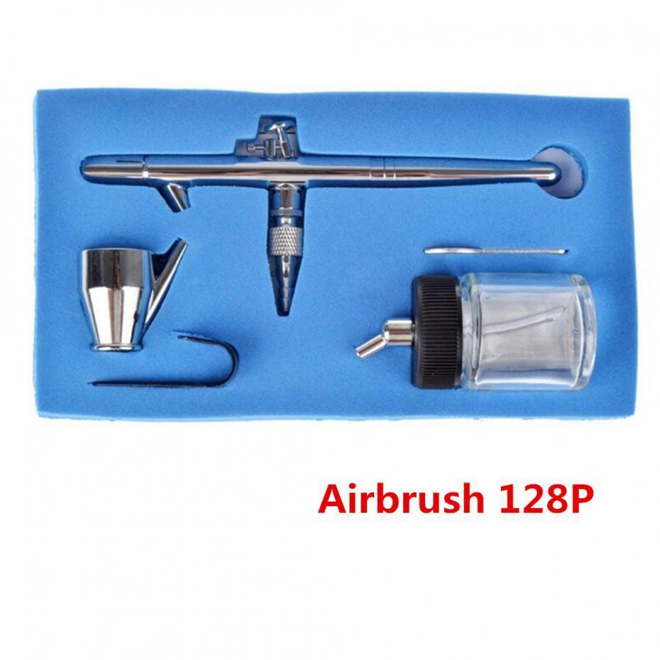 무료 배송 0.35mm 22CC 128P 에어 브러시 더블 액션 프로 페셔널 용량 펜 스프레이 건 키트 세트 메이크업 도구
