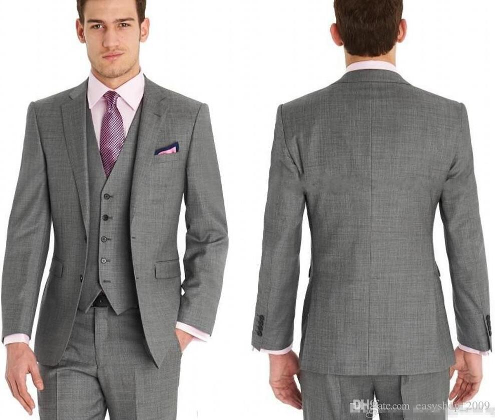 New Custom Made Slim Fit Groom Tuxedos Side Slit Best Man Suit Wedding Groomsman Men Suits Bridegroom (Jacket+Pants+Vest) Tailcoat Suits