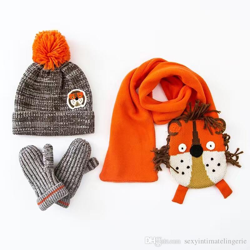 Wholesale 2016 Lion Embroidery Cotton Baby Hat +Scarf +Gloves Set Crochet Baby Beanies Kids Fall Winter Cap Handmade Windproof Earmuff Cap
