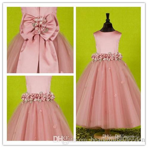 Красивый розовый цветок девушки платья для свадьбы 2016 на заказ довольно формальные девушки платья Атлас тюль день рождения театрализованное вечерние платья