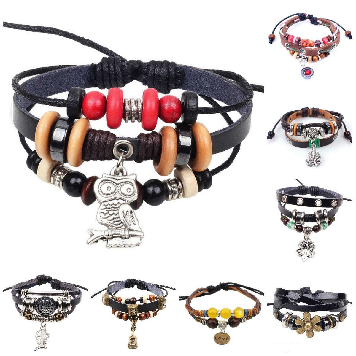 Bracciali con braccialetti con ciondoli Braccialetti con cinturino regolabile a catena in vera pelle con braccialetti Infinity