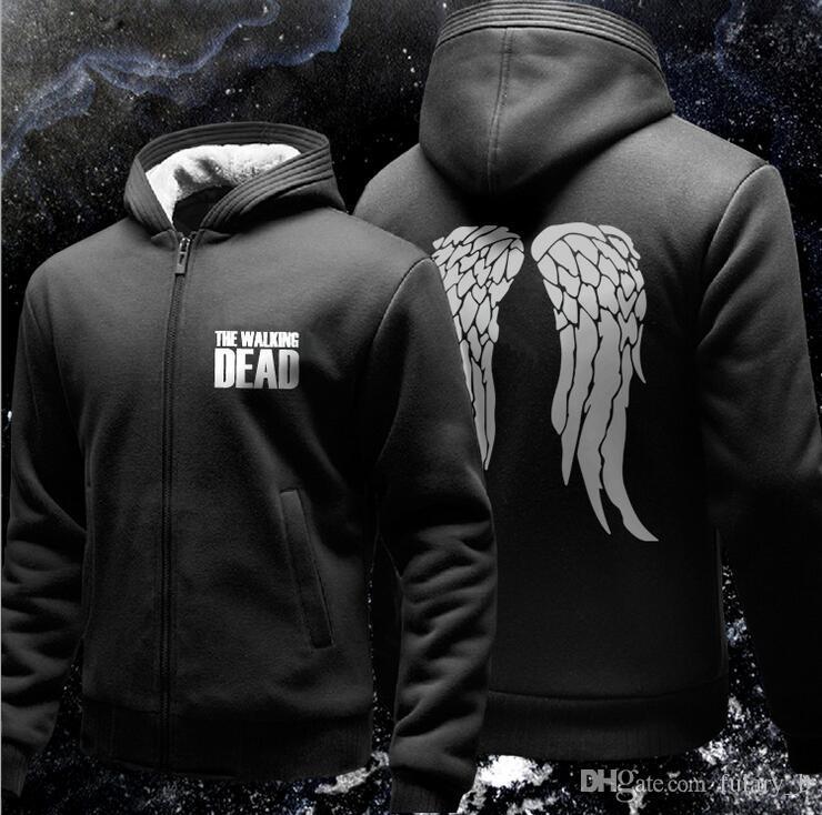 The Walking Dead Hoodie Zombie Daryl Dixon Wings Fleece Cotton Men Hoodies Zipper Jacket Men's Sweatshirts Sportswear