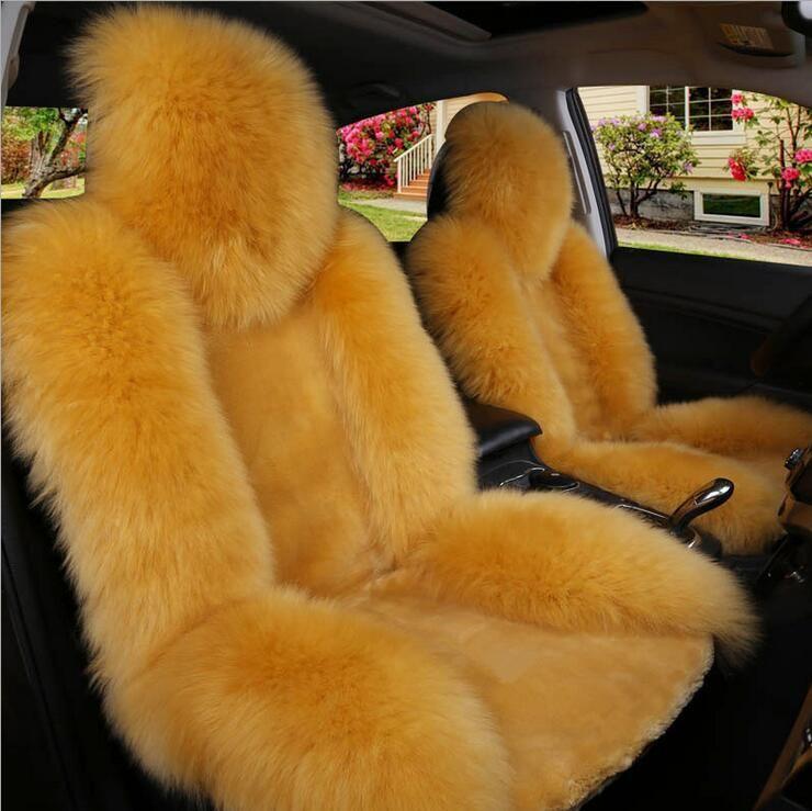 Coprisedili anteriori auto lunghe in lana sintetica lana Universal Fit SUV berline Sedia Pad Cuscino antiscivolo traspirante