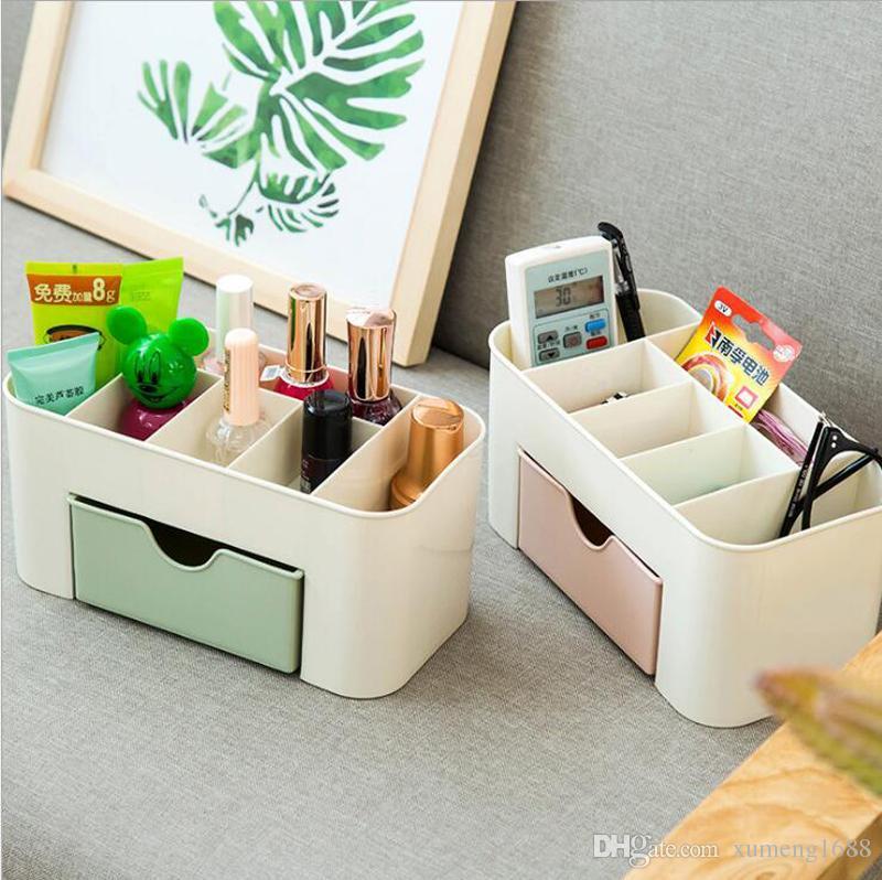 DIY творческий многофункциональный пластиковые косметическая коробка для хранения чехол макияж организатор ящики ящик стола - рабочий стол аккуратные Organizador