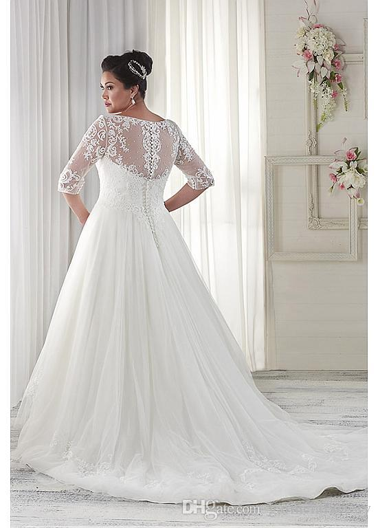 Modest Plus Size Wedding Dresses Sleeves V Neckline Court Train Sheer Half  Sleeves Ivory Lace And