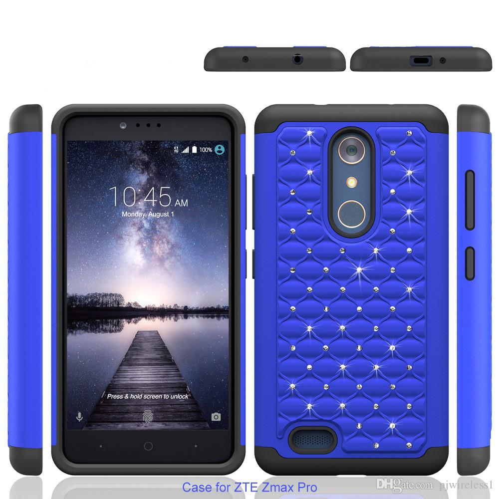 new styles 05fb0 a5bd4 For ZTE Zmax Pro Z981 MetroPCS For HTC Desire 530 Bling Diamond Starry  Rubber PC Case + Silicone Hybrid Armor Rhinestone Phone Cover Leather Cell  ...