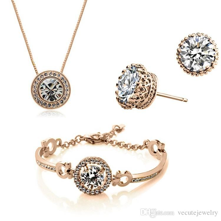 Neue Mode 18 Karat Gold Überzog Österreichischen Kristall Halskette Armband Ohrringe Schmuck-Set Mit SWAROVSKI ELEMTNS Hochzeit Schmuck 3 teile / satz