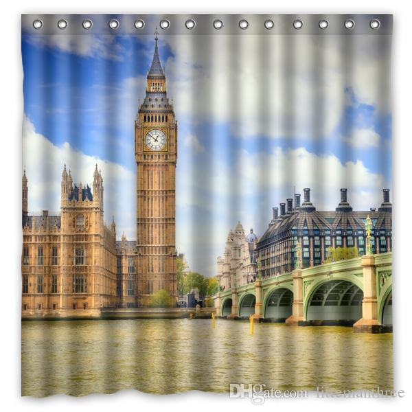Creative London Big Ben Pattern Shower Curtain Polyester Waterproof Bath Decor