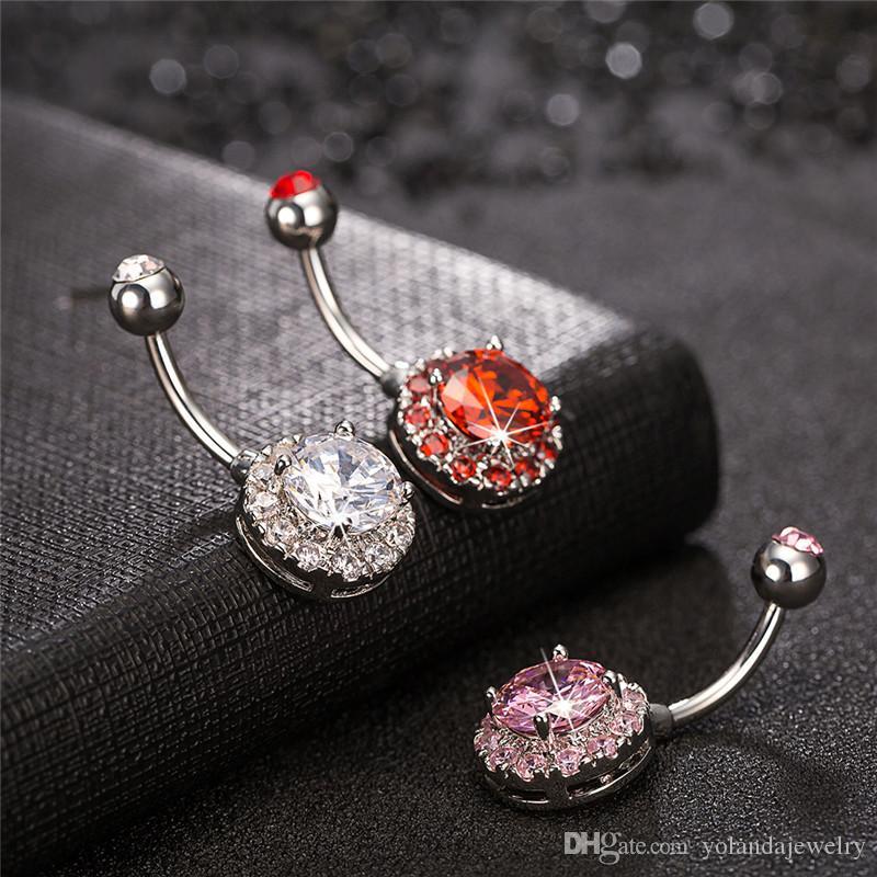مصنع توريد جودة عالية تشيكوسلوفاكيا الماس واضح gemmed الفولاذ المقاوم للصدأ مرساة السرة البطن حلقة للحزب لحضور حفل زفاف