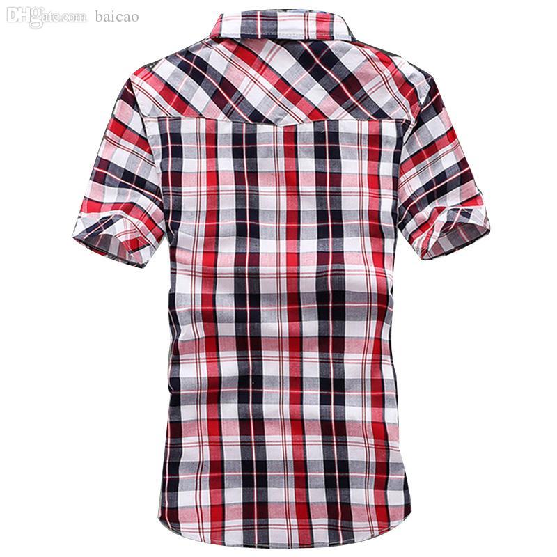 Großhandels-Männer Plaid Shirt 2016 Typischer Sommer Heißer Verkauf Kurzhülse Strand Shirts Vintage Breath 3 Farben Asiatische Größe Shirt MCS523
