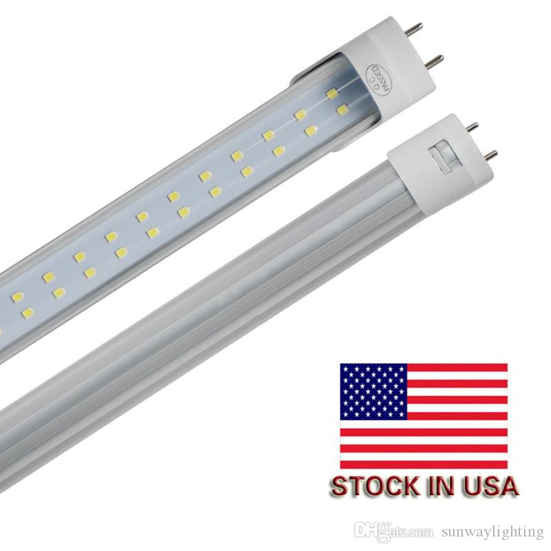 4FT 8FT 28 W 72 W LED Tüp T8 G13 Çift Hattı LED Işık Ampul Soğuk Beyaz 6500 K Süper Parlak LED Tavan Dükkanı Işık 25-Paket
