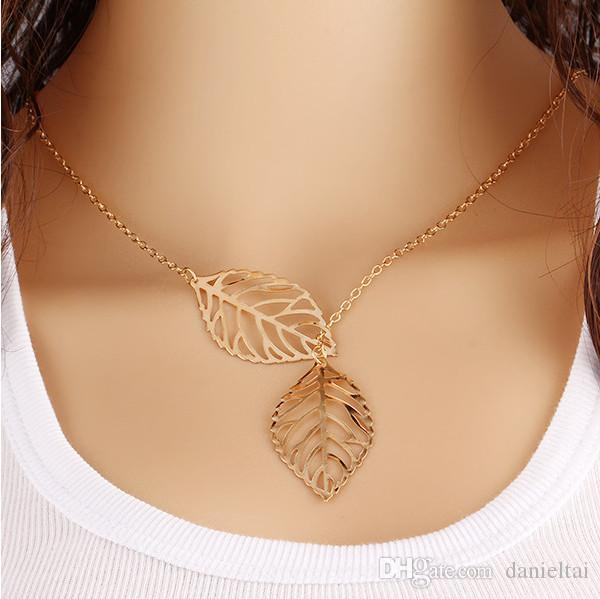 necklace fashion jewelry Women Elegant Brief Gold/Silver Plated Hollow Out 2 Leaves Pendant Necklaces Jewelry Wholesale Drop Shipping SN575