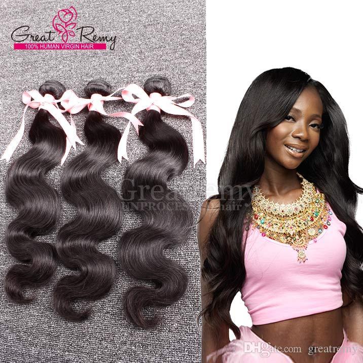 Greatremy® 3pcs / lot hårförlängningar 100% peruansk jungfru hår 100g / pc obearbetad naturlig färg mänsklig hår väv kroppsvåg färgbar