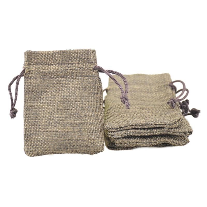 7x9cm Custom Faux Jute Drawstring Jewelry Bags Candy Beads Small Pouches Burlap Blank Linen Fabric Gift packaging bags Brown Color
