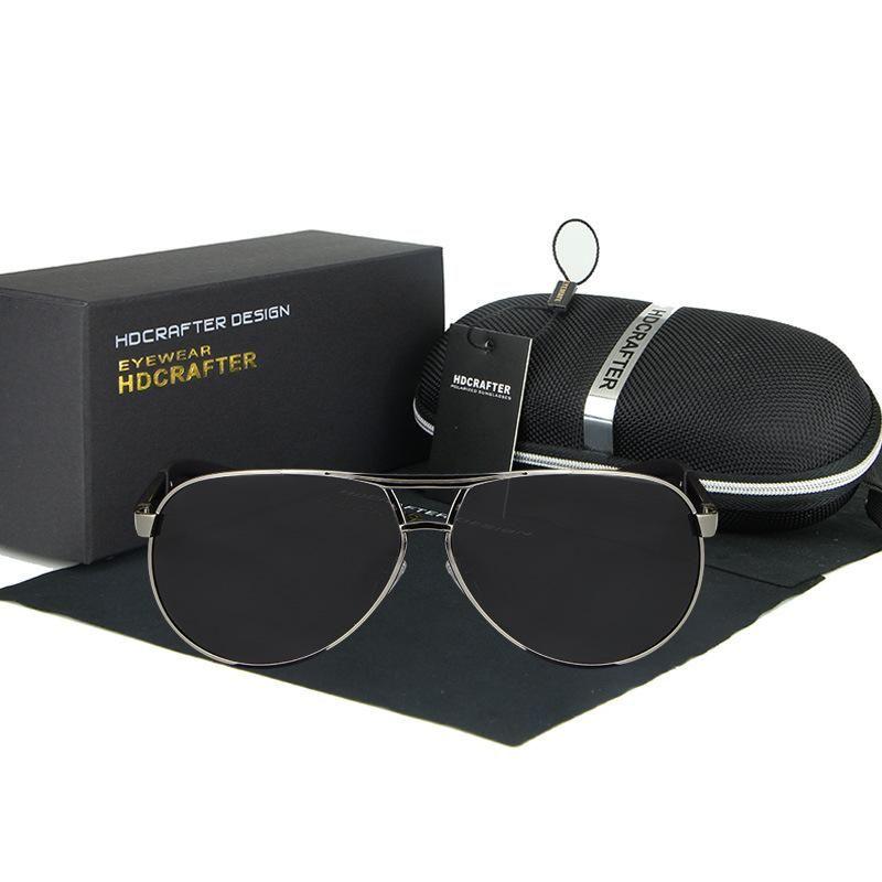 Polarisierte designer sonnenbrille für männer mit rahmen aluminium / magnesium luxus sonnenbrille herren fahren sonnenbrille strahlen uv400 schutz