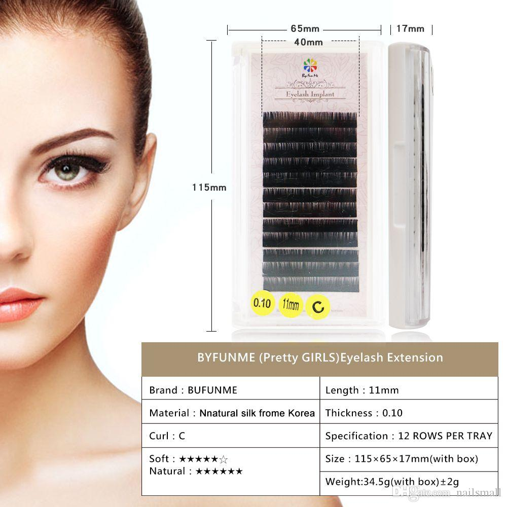 c9c22d663b2 BY FUN ME Korea Pretty Girl Silk Protein Grafting Eyelash Professional Eyelash  Natural Collection Scheming Beauty 11mm Grow Eyelashes Individual Eyelash  ...