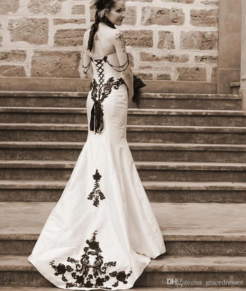 White And Black Gothic Wedding Dress Mermaid Sweetheart Neckline ...