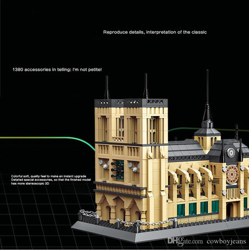 1380pcs Notre Dame Cathedral Paris Model Building Blocks DIY Toys Gift For Kids