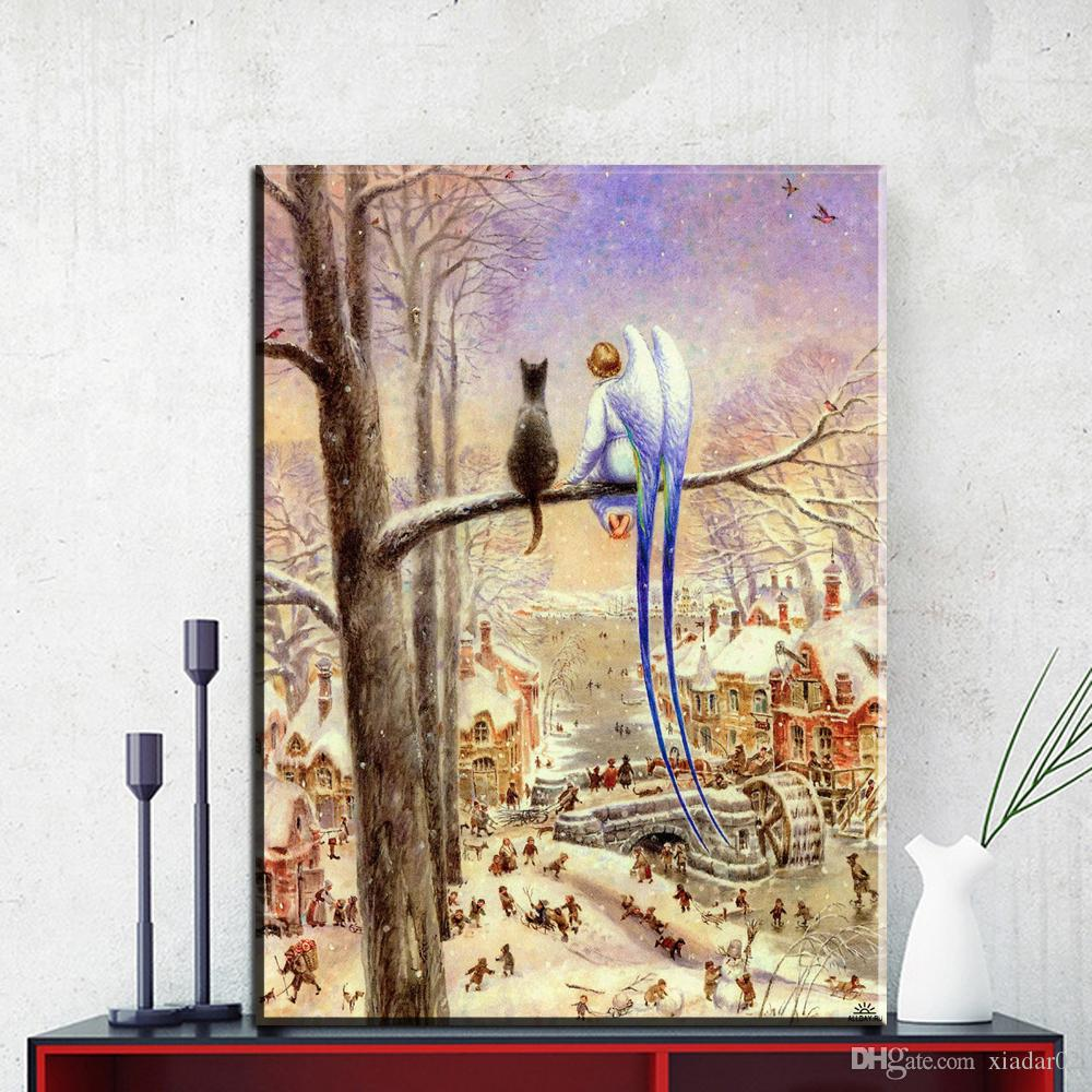 ZZ2081 Vladimir Rumyantsev forward cat world oil painting wall Art Picture Paint on Canvas Prints wall painting no framed