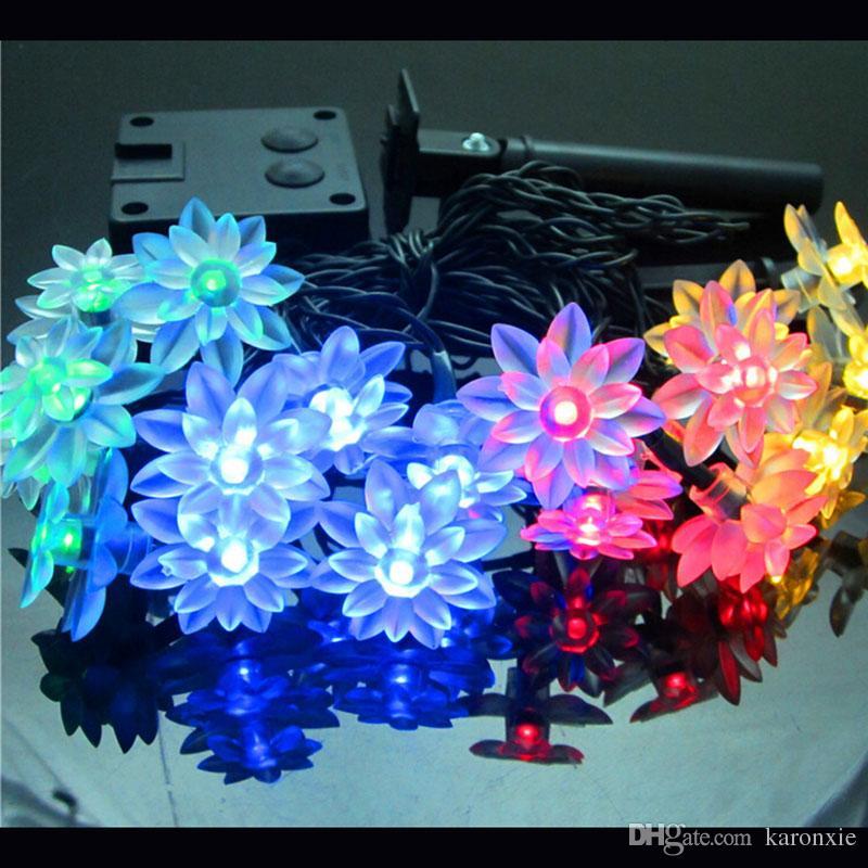 Мода праздничное освещение 20leds новинка цветок лотоса Фея строка огни свадьба сад рождественское украшение Солнечный светодиод