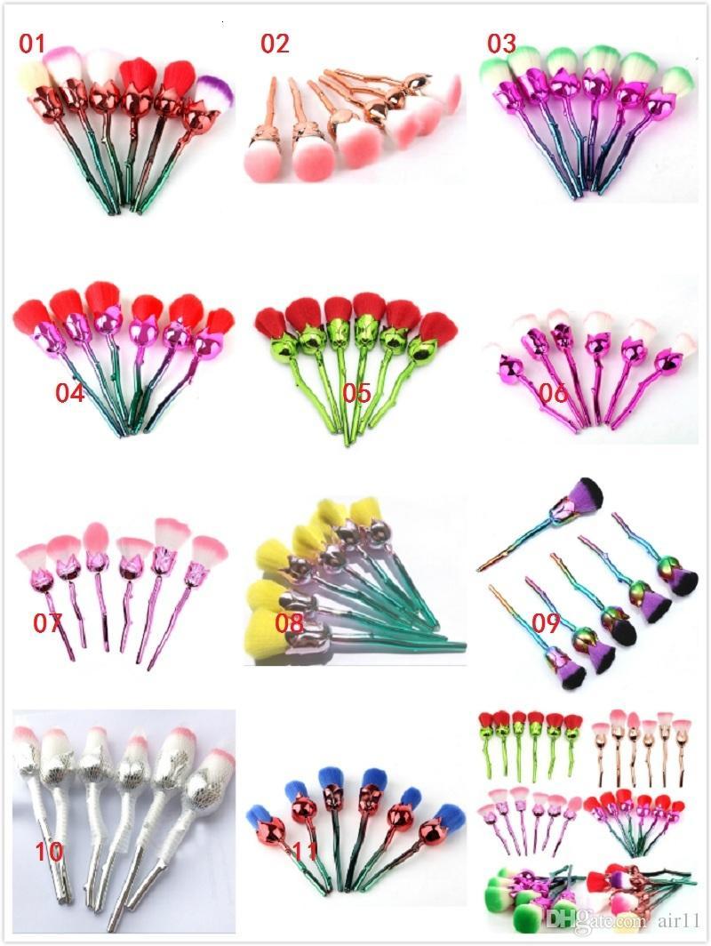 Yeni Gül Çiçek Makyaj Fırça Seti Vakfı Fırça Göz Farı Fırça seti 6 adet / takım 11 stilleri stokta