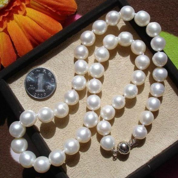 9-10 мм Южное море белый натуральный жемчуг ожерелье 17 дюймов 925 серебряная застежка
