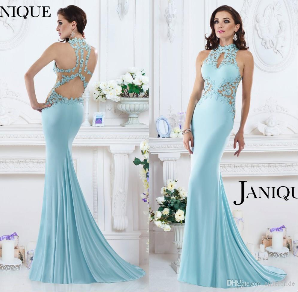2016 новый стиль платья вечерняя одежда элегантное платье Janique сексуальное прозрачное кружево аппликация высокая шея черная русалка с открытой спиной вечерние платья знаменитостей