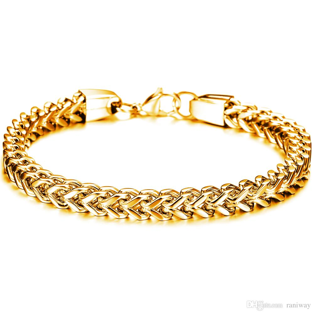 Fashion Men's 316l Stainless Steel Franco Chain Bracelet for Men Women 6mm Wide 9.4 Inches 3 Colors Black Gold Silver