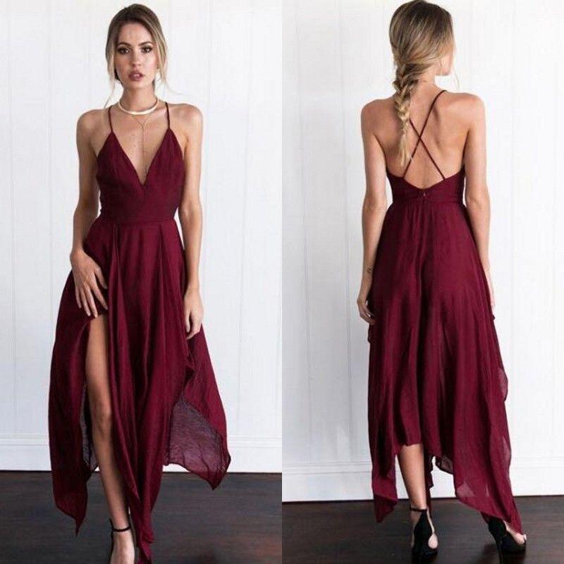 2017 Sexy Dark Red Chiffon Asymmetrische Cocktailkleider Günstige Spaghetti Criss Cross Zurück Tee Länge Formale Party Kleider Nach Maß EN101112