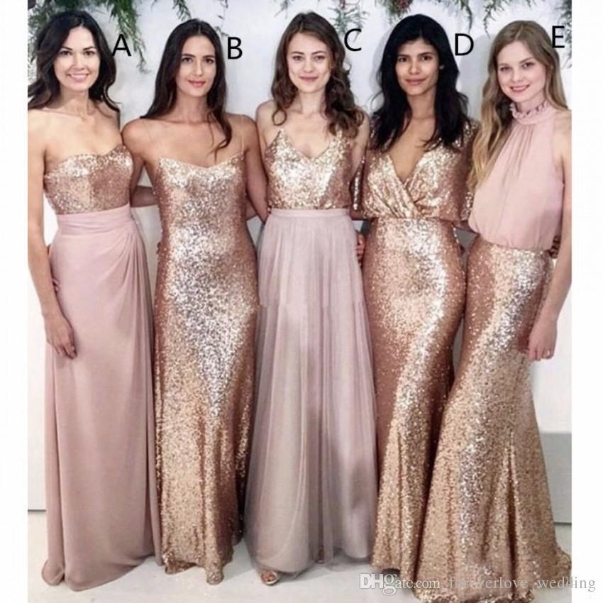Compre Modest Blush Pink Vestidos De Dama De Honor Largos Con Lentejuelas De Oro Rosa Emparejados Invitado A La Boda Vestidos De Dama De Honor Vestido
